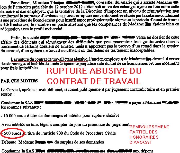 rupture abusive du contrat de travail; avocat rupture abusive du contrat de travail